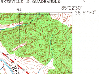 Reduced fragment of topographic map en--usgs--024k--047695--(1953)--N036-52-30_W085-30-00--N036-45-00_W085-22-30