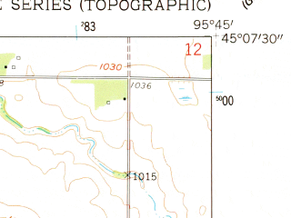Reduced fragment of topographic map en--usgs--024k--047724--(1958)--N045-07-30_W095-52-30--N045-00-00_W095-45-00; towns and cities Watson