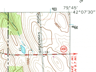 Reduced fragment of topographic map en--usgs--024k--047734--(1960)--N042-07-30_W079-52-30--N042-00-00_W079-45-00; towns and cities Wattsburg