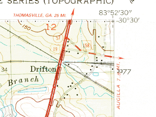 Reduced fragment of topographic map en--usgs--024k--047751--(1955)--N030-30-00_W084-00-00--N030-22-30_W083-52-30