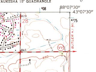 Reduced fragment of topographic map en--usgs--024k--047755--(1959)--N043-07-30_W088-15-00--N043-00-00_W088-07-30; towns and cities Waukesha