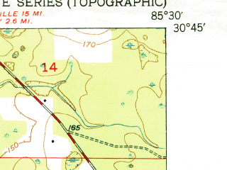 Reduced fragment of topographic map en--usgs--024k--047772--(1951)--N030-45-00_W085-37-30--N030-37-30_W085-30-00; towns and cities Wausau