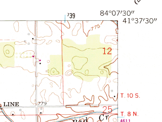 Reduced fragment of topographic map en--usgs--024k--047777--(1960)--N041-37-30_W084-15-00--N041-30-00_W084-07-30; towns and cities Wauseon