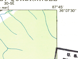 Reduced fragment of topographic map en--usgs--024k--047796--(1936)--N036-07-30_W087-52-30--N036-00-00_W087-45-00; towns and cities Waverly