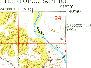 Reduced fragment of topographic map en--usgs--024k--047821--(1950)--N040-30-00_W091-37-30--N040-22-30_W091-30-00; towns and cities Wayland