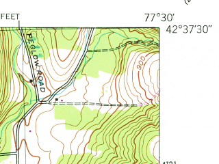 Reduced fragment of topographic map en--usgs--024k--047824--(1943)--N042-37-30_W077-37-30--N042-30-00_W077-30-00; towns and cities Wayland