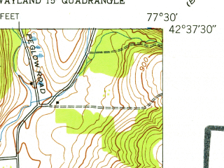 Reduced fragment of topographic map en--usgs--024k--047824--(1953)--N042-37-30_W077-37-30--N042-30-00_W077-30-00; towns and cities Wayland