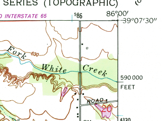 Reduced fragment of topographic map en--usgs--024k--047827--(1962)--N039-07-30_W086-07-30--N039-00-00_W086-00-00