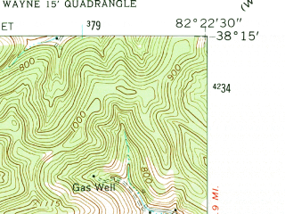 Reduced fragment of topographic map en--usgs--024k--047835--(1962)--N038-15-00_W082-30-00--N038-07-30_W082-22-30; towns and cities Wayne
