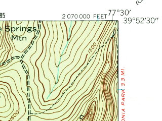 Reduced fragment of topographic map en--usgs--024k--047840--(1944)--N039-52-30_W077-37-30--N039-45-00_W077-30-00; towns and cities Waynesboro, Mont Alto