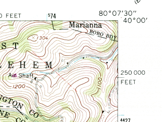 Reduced fragment of topographic map en--usgs--024k--047847--(1961)--N040-00-00_W080-15-00--N039-52-30_W080-07-30; towns and cities Waynesburg