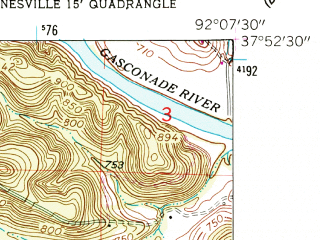 Reduced fragment of topographic map en--usgs--024k--047853--(1954)--N037-52-30_W092-15-00--N037-45-00_W092-07-30; towns and cities St. Robert, Waynesville