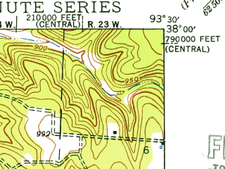 Reduced fragment of topographic map en--usgs--024k--047873--(1940)--N038-00-00_W093-37-30--N037-52-30_W093-30-00; towns and cities Collins, Gerster, Weaubleau