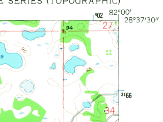 Reduced fragment of topographic map en--usgs--024k--047911--(1958)--N028-37-30_W082-07-30--N028-30-00_W082-00-00; towns and cities Webster
