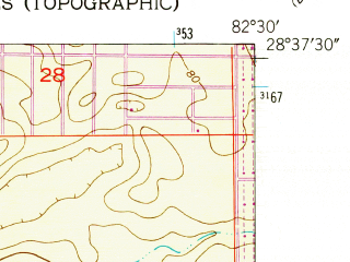 Reduced fragment of topographic map en--usgs--024k--047946--(1954)--N028-37-30_W082-37-30--N028-30-00_W082-30-00; towns and cities High Point, Weeki Wachee