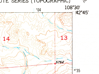 Reduced fragment of topographic map en--usgs--024k--047975--(1953)--N042-45-00_W108-37-30--N042-37-30_W108-30-00