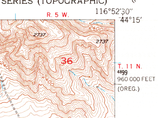 Reduced fragment of topographic map en--usgs--024k--047977--(1951)--N044-15-00_W117-00-00--N044-07-30_W116-52-30