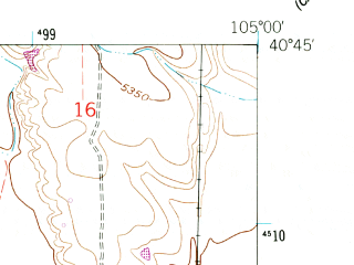 Reduced fragment of topographic map en--usgs--024k--048034--(1960)--N040-45-00_W105-07-30--N040-37-30_W105-00-00; towns and cities Wellington