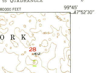 Reduced fragment of topographic map en--usgs--024k--048057--(1950)--N047-52-30_W099-52-30--N047-45-00_W099-45-00