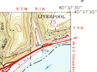 Reduced fragment of topographic map en--usgs--024k--048066--(1960)--N040-37-30_W080-45-00--N040-30-00_W080-37-30; towns and cities Irondale, Stratton, Wellsville