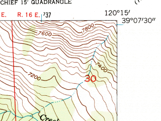 Reduced fragment of topographic map en--usgs--024k--048099--(1953)--N039-07-30_W120-22-30--N039-00-00_W120-15-00 in area of Spider Lake