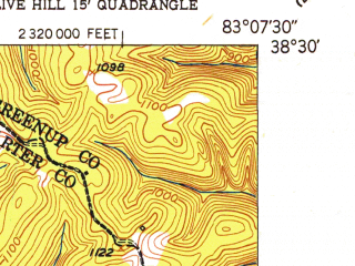Reduced fragment of topographic map en--usgs--024k--048112--(1950)--N038-30-00_W083-15-00--N038-22-30_W083-07-30