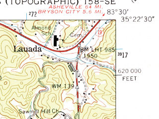 Reduced fragment of topographic map en--usgs--024k--048114--(1961)--N035-22-30_W083-37-30--N035-15-00_W083-30-00
