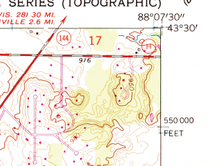 Reduced fragment of topographic map en--usgs--024k--048138--(1959)--N043-30-00_W088-15-00--N043-22-30_W088-07-30; towns and cities West Bend