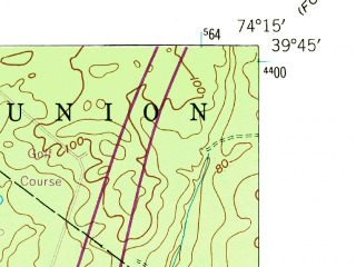 Reduced fragment of topographic map en--usgs--024k--048165--(1951)--N039-45-00_W074-22-30--N039-37-30_W074-15-00; towns and cities Ocean Acres, Manahawkin