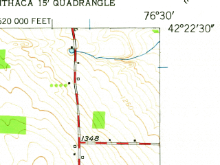 Reduced fragment of topographic map en--usgs--024k--048167--(1950)--N042-22-30_W076-37-30--N042-15-00_W076-30-00; towns and cities Newfield Hamlet