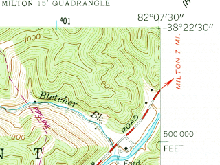 Reduced fragment of topographic map en--usgs--024k--048200--(1957)--N038-22-30_W082-15-00--N038-15-00_W082-07-30; towns and cities West Hamlin