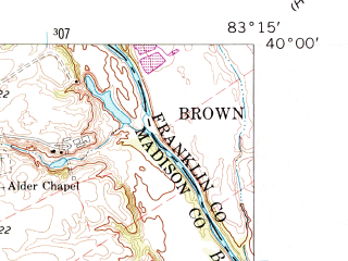 Reduced fragment of topographic map en--usgs--024k--048204--(1961)--N040-00-00_W083-22-30--N039-52-30_W083-15-00; towns and cities Jefferson, West Jefferson