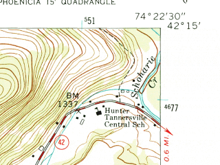 Reduced fragment of topographic map en--usgs--024k--048206--(1960)--N042-15-00_W074-30-00--N042-07-30_W074-22-30