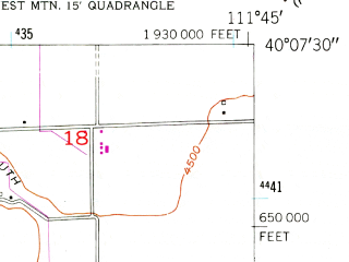 Reduced fragment of topographic map en--usgs--024k--048228--(1950)--N040-07-30_W111-52-30--N040-00-00_W111-45-00; towns and cities Genola