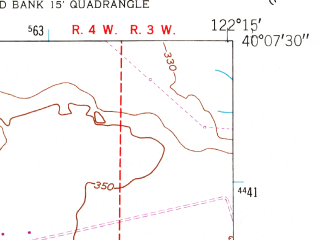 Reduced fragment of topographic map en--usgs--024k--048258--(1951)--N040-07-30_W122-22-30--N040-00-00_W122-15-00