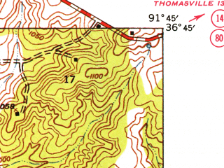 Reduced fragment of topographic map en--usgs--024k--048317--(1938)--N036-45-00_W091-52-30--N036-37-30_W091-45-00; towns and cities West Plains