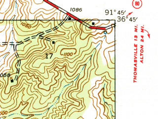 Reduced fragment of topographic map en--usgs--024k--048317--(1940)--N036-45-00_W091-52-30--N036-37-30_W091-45-00; towns and cities West Plains