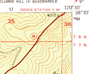 Reduced fragment of topographic map en--usgs--024k--048328--(1948)--N038-30-00_W120-37-30--N038-22-30_W120-30-00