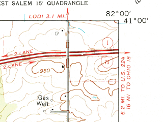Reduced fragment of topographic map en--usgs--024k--048342--(1961)--N041-00-00_W082-07-30--N040-52-30_W082-00-00; towns and cities Congress, West Salem