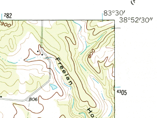 Reduced fragment of topographic map en--usgs--024k--048361--(1961)--N038-52-30_W083-37-30--N038-45-00_W083-30-00; towns and cities West Union