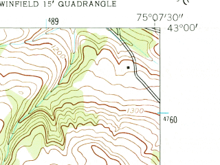 Reduced fragment of topographic map en--usgs--024k--048366--(1943)--N043-00-00_W075-15-00--N042-52-30_W075-07-30; towns and cities Bridgewater, Clayville, West Winfield
