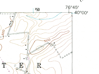 Reduced fragment of topographic map en--usgs--024k--048368--(1954)--N040-00-00_W076-52-30--N039-52-30_W076-45-00; towns and cities Weigelstown, Shiloh, West York, New Salem, Spring Grove