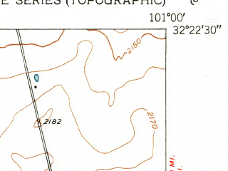 Reduced fragment of topographic map en--usgs--024k--048371--(1952)--N032-22-30_W101-07-30--N032-15-00_W101-00-00; towns and cities Westbrook