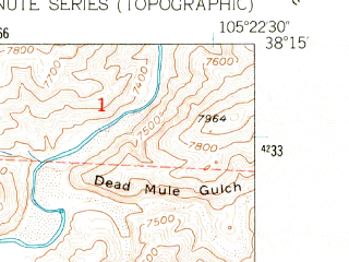 Reduced fragment of topographic map en--usgs--024k--048377--(1955)--N038-15-00_W105-30-00--N038-07-30_W105-22-30; towns and cities Westcliffe, Silver Cliff