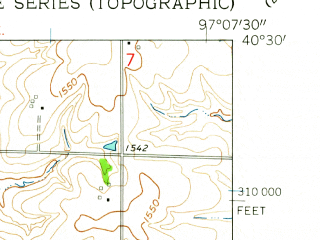 Reduced fragment of topographic map en--usgs--024k--048383--(1961)--N040-30-00_W097-15-00--N040-22-30_W097-07-30; towns and cities Western