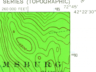 Reduced fragment of topographic map en--usgs--024k--048413--(1955)--N042-22-30_W072-52-30--N042-15-00_W072-45-00