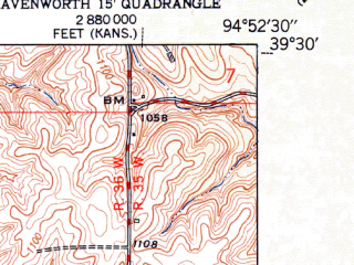 Reduced fragment of topographic map en--usgs--024k--048441--(1951)--N039-30-00_W095-00-00--N039-22-30_W094-52-30; towns and cities Iatan, Weston