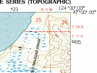 Reduced fragment of topographic map en--usgs--024k--048467--(1956)--N047-00-00_W124-07-30--N046-52-30_W124-00-00; towns and cities Westport