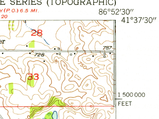 Reduced fragment of topographic map en--usgs--024k--048472--(1953)--N041-37-30_W087-00-00--N041-30-00_W086-52-30; towns and cities Westville