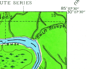 Reduced fragment of topographic map en--usgs--024k--048497--(1945)--N030-07-30_W085-15-00--N030-00-00_W085-07-30; towns and cities Wewahitchka